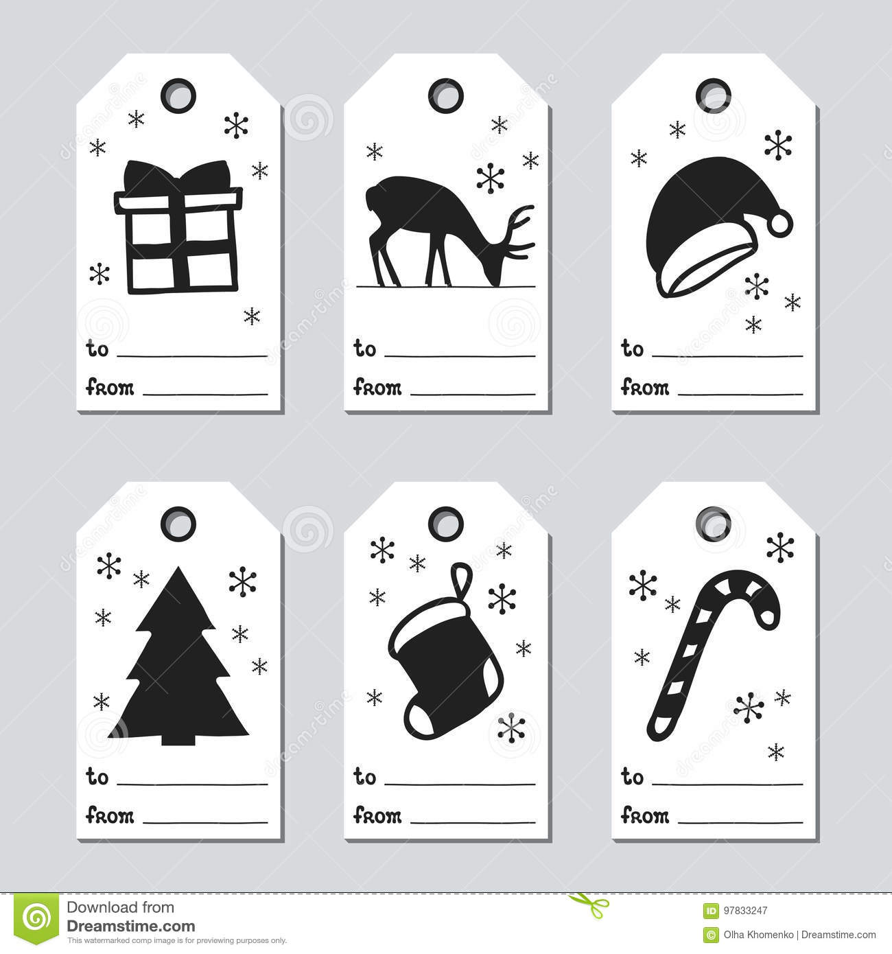 christmas and new year gift tags cards xmas set with hand drawing elements collection
