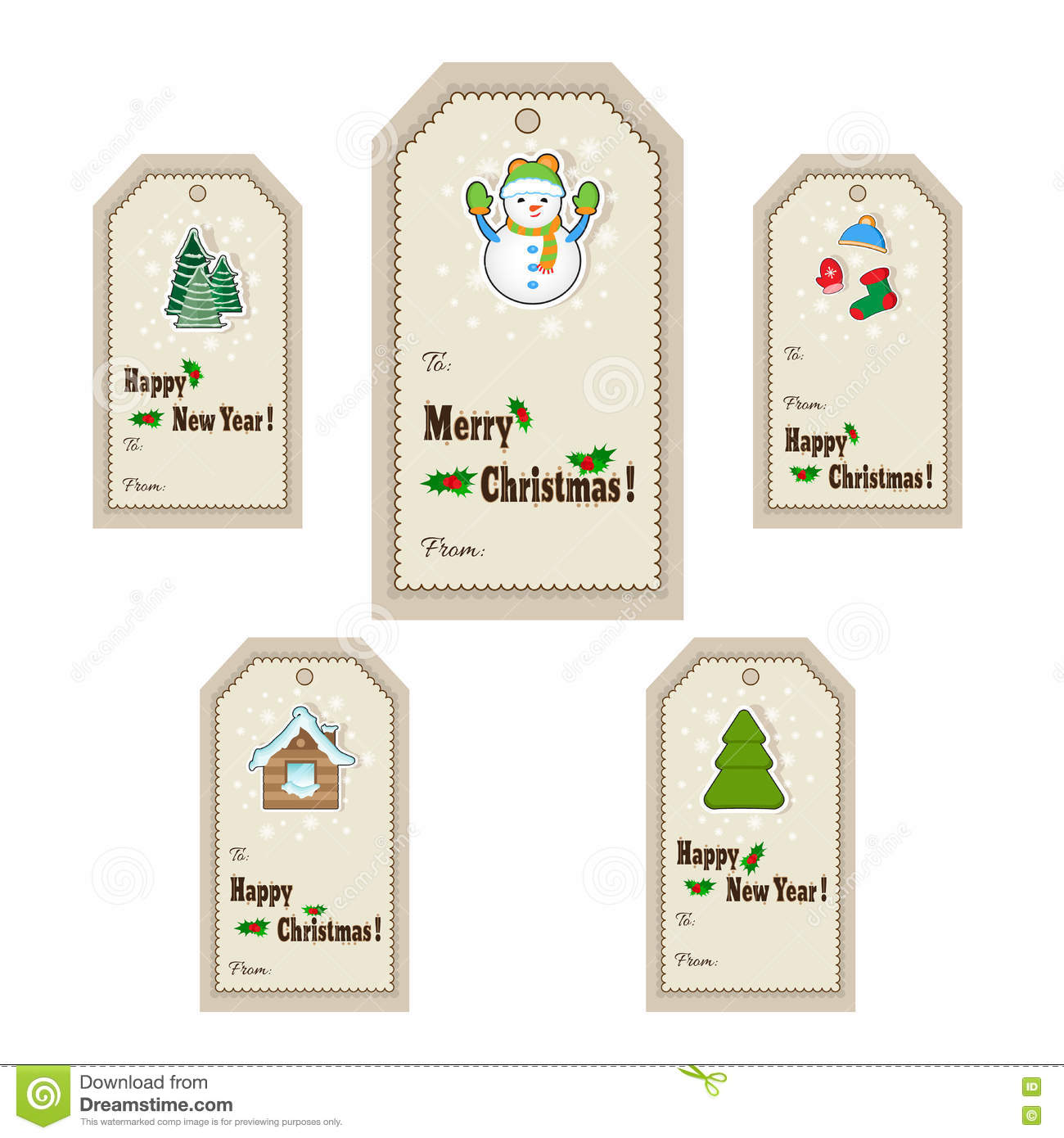 Christmas Gift Tags Template.Christmas Or New Year Gift Tags And Labels Template For