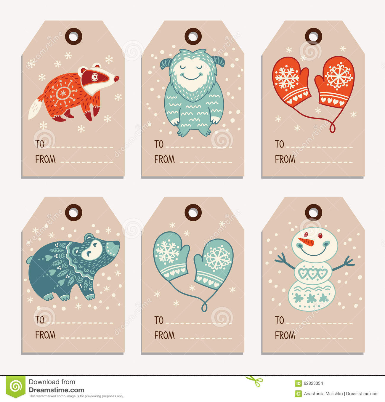 christmas and new year gift tags stickers labels stock vector