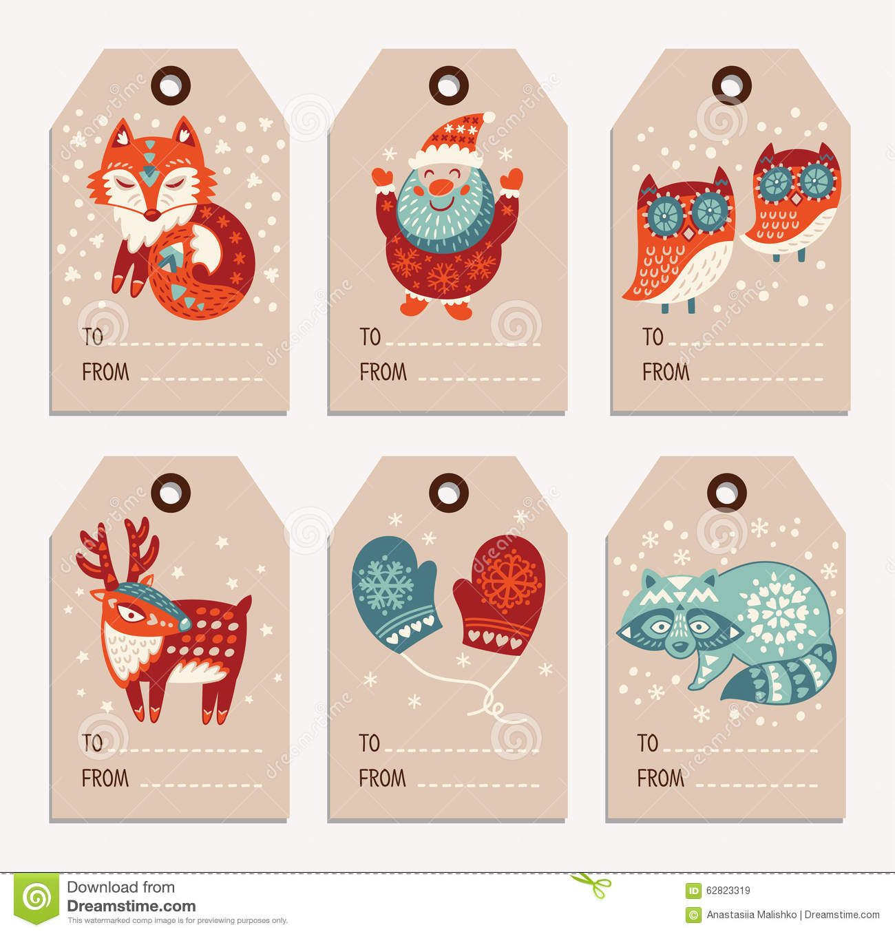 Vector Christmas labels collection with santa claus, cute fox, owls ...