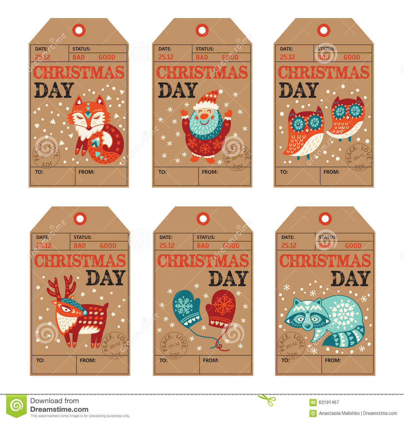 Christmas And New Year Gift Tags, Stickers, Labels Stock ...