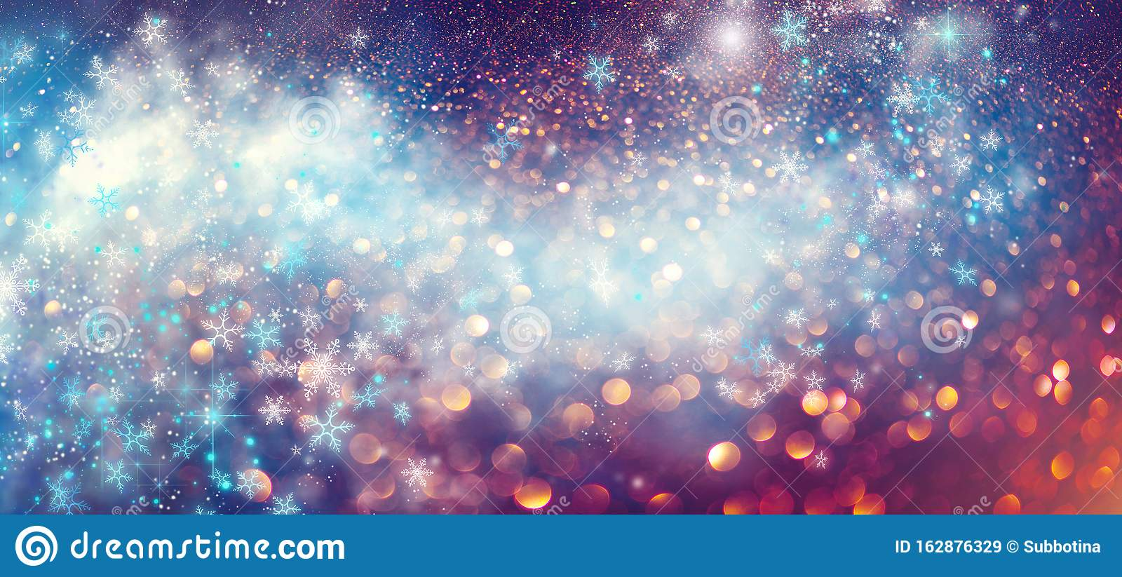 Christmas and New Year glittering winter snow flakes swirl bokeh background, backdrop with sparkling blue stars, holiday garland