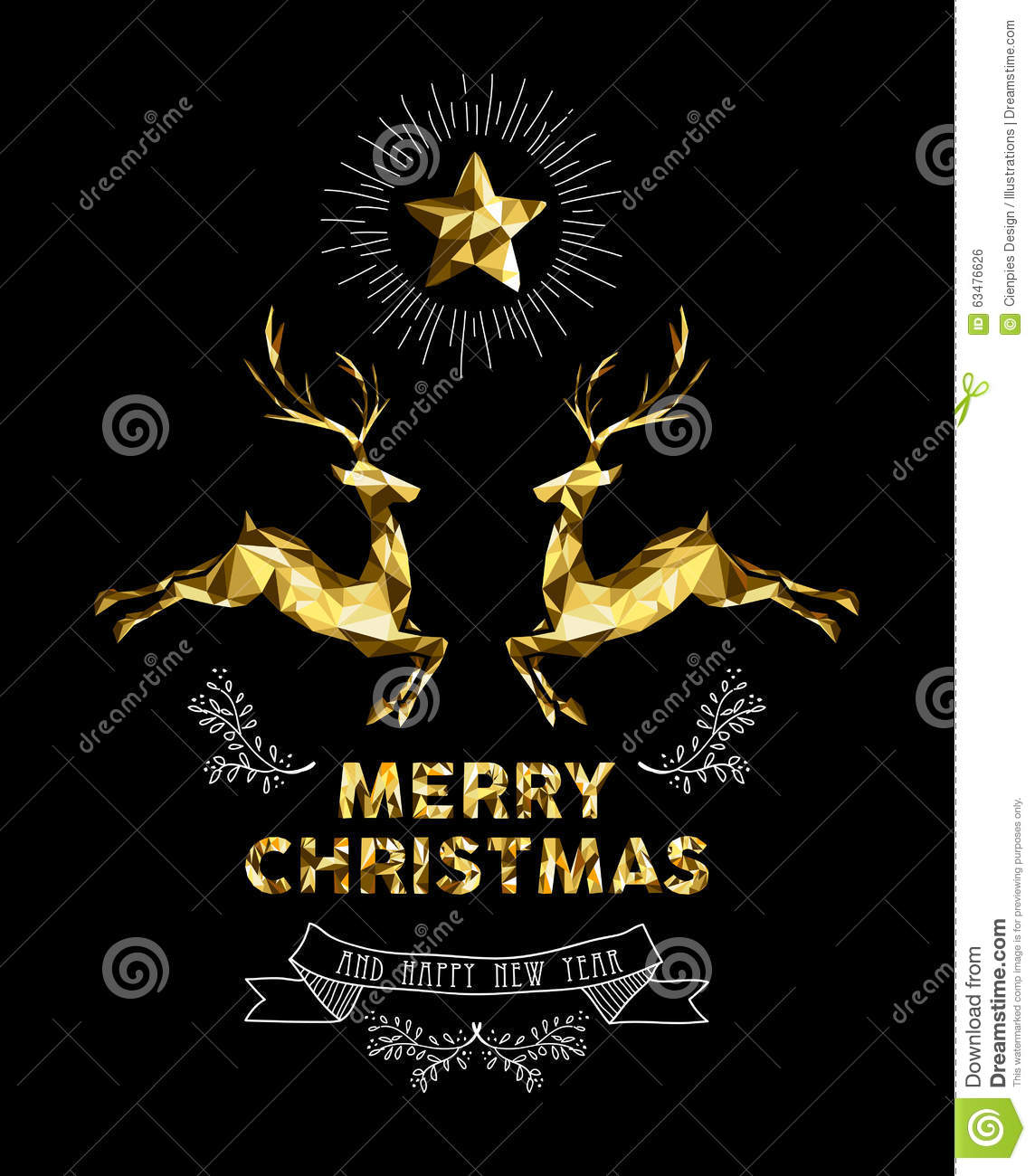 christmas new year gold label elegant deer holiday