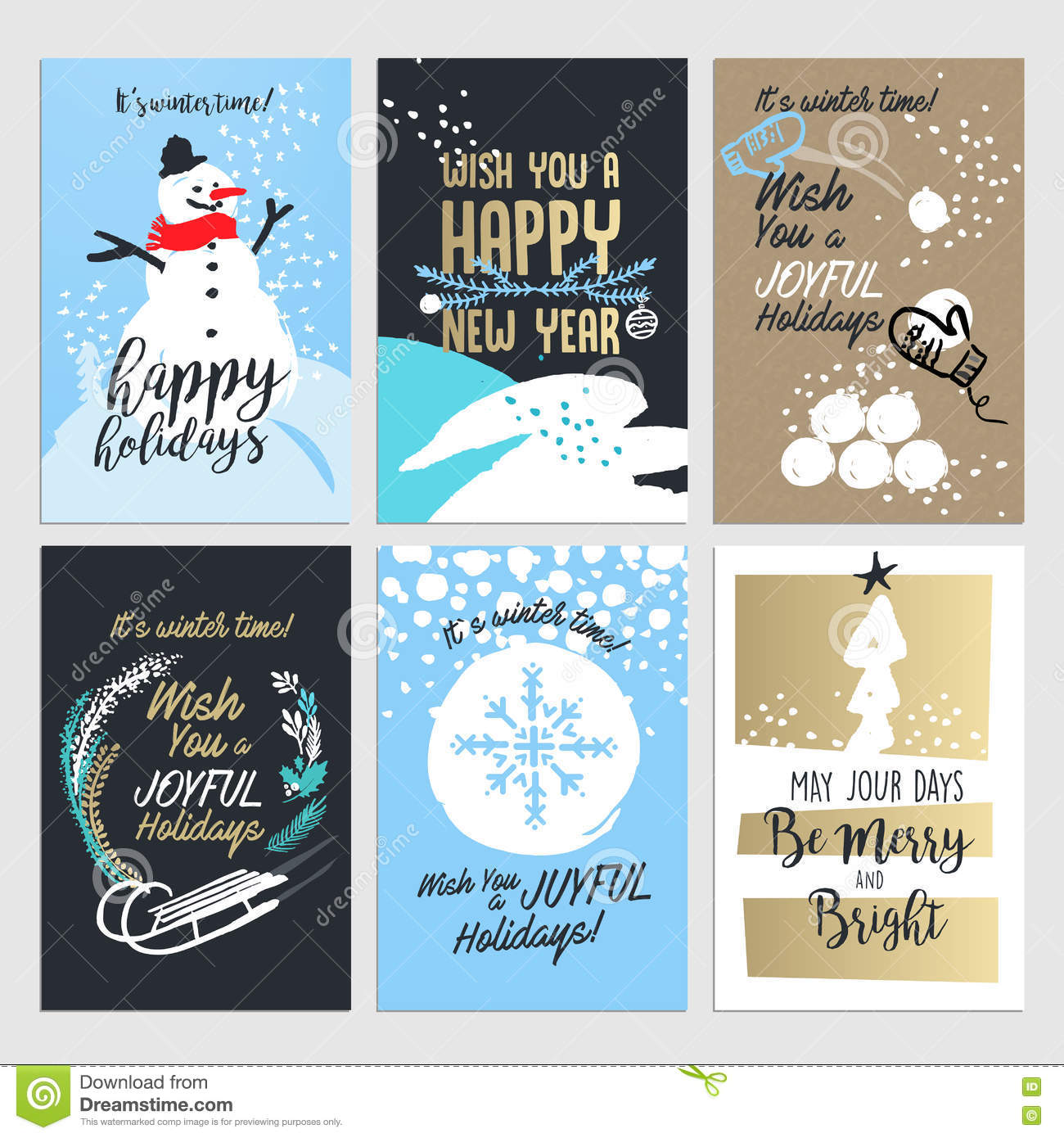 Christmas And New Year Greeting Card Concepts Stock Vector