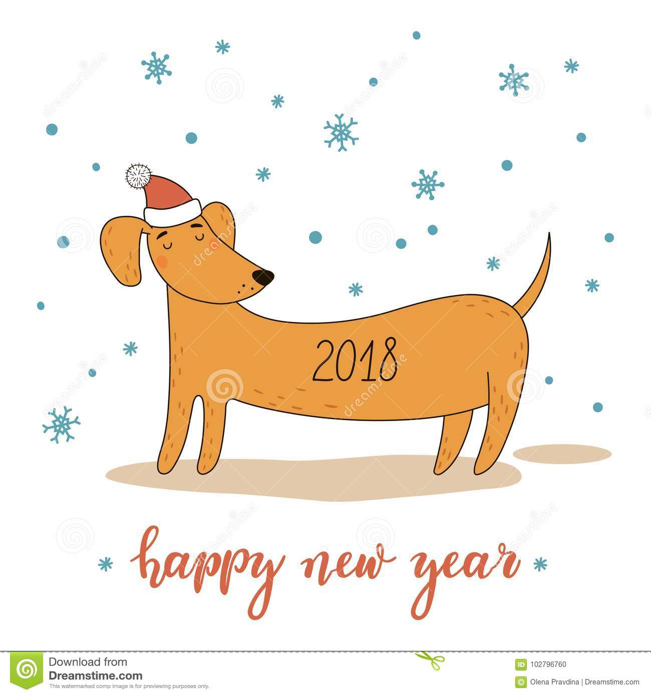 Christmas and new year greeting card with cute cartoon dachshund download christmas and new year greeting card with cute cartoon dachshund vector illustration stock m4hsunfo