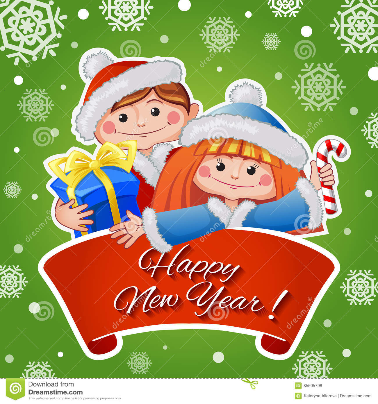 Christmas And New Year Greeting Card With Cute Girl And ...