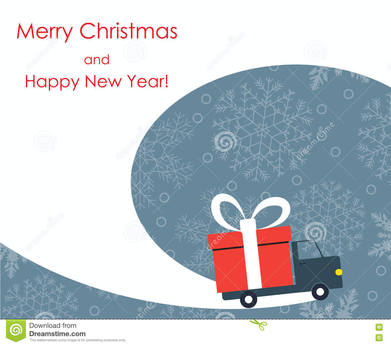 Christmas And New Year Greeting Card With Gift Delivery Van Stock