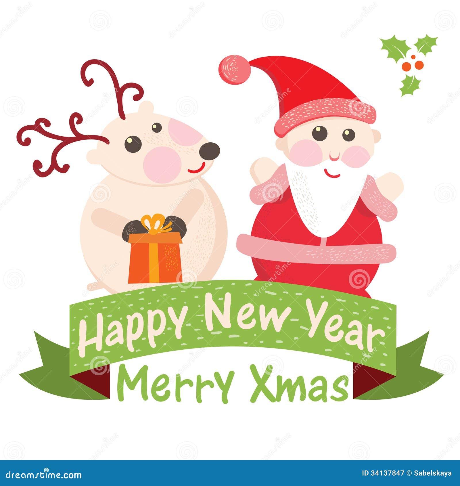 Christmas And New Year Greeting Card Santa Claus Stock Vector