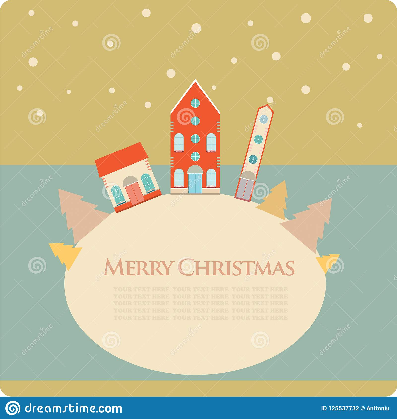 christmas new year greeting card with street view with lovely houses in small townwinter season snowingthemebannerpostcardstickerposter design