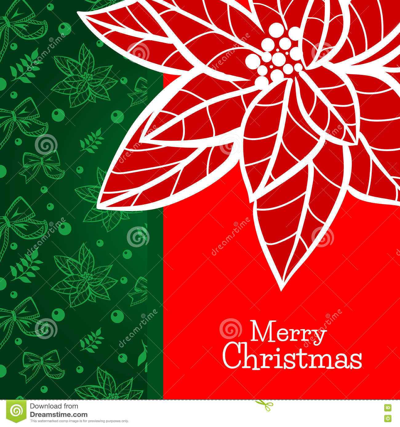 christmas and new year greeting card template with hand drawn poinsettia flower