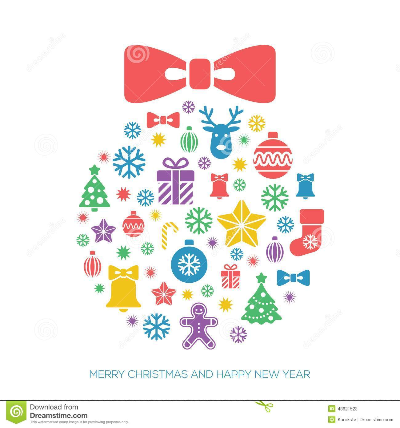 Christmas And New Year Greeting Card Template Stock Vector   Image RF6INtvH