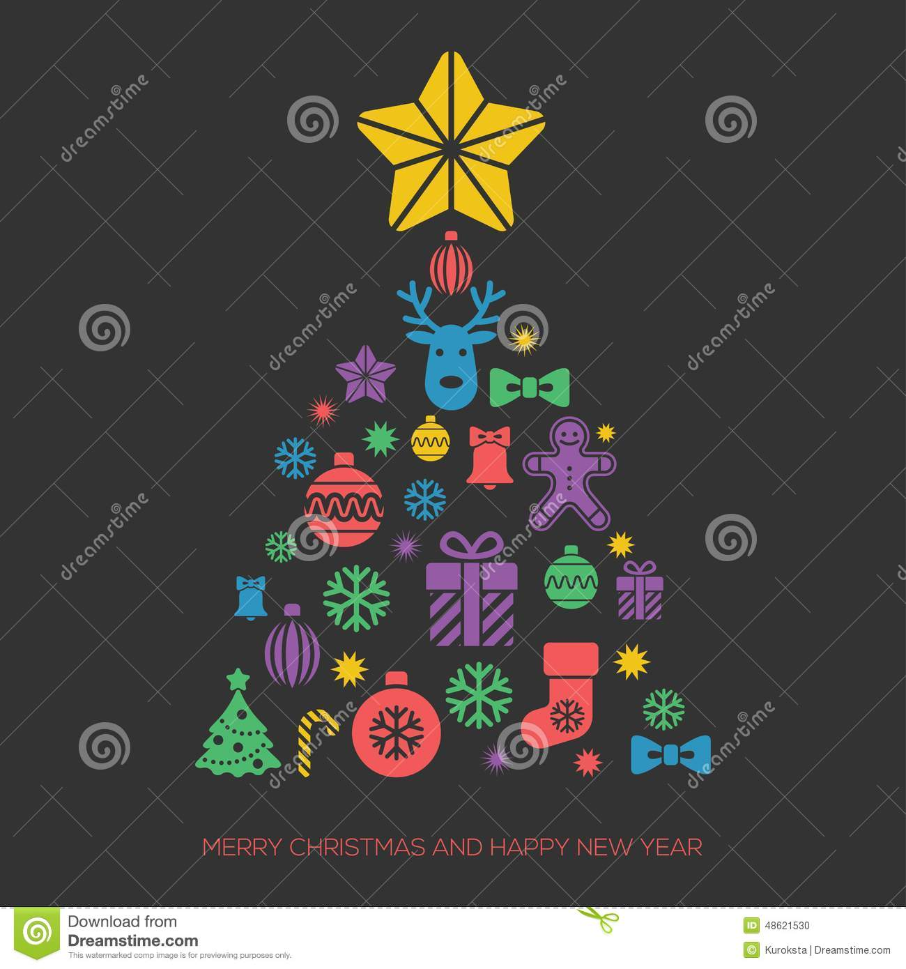 Christmas And New Year Greeting Card Template Stock Vector ...