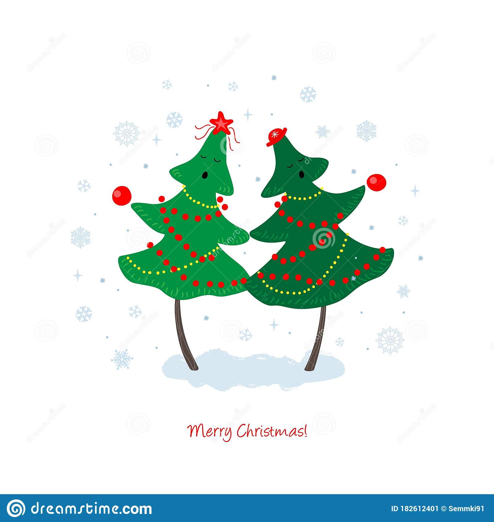 Christmas And New Year Vector Greeting Card With Merry Christmas Trees Sing Songs Stock Illustration Illustration Of Cute Party 182612401