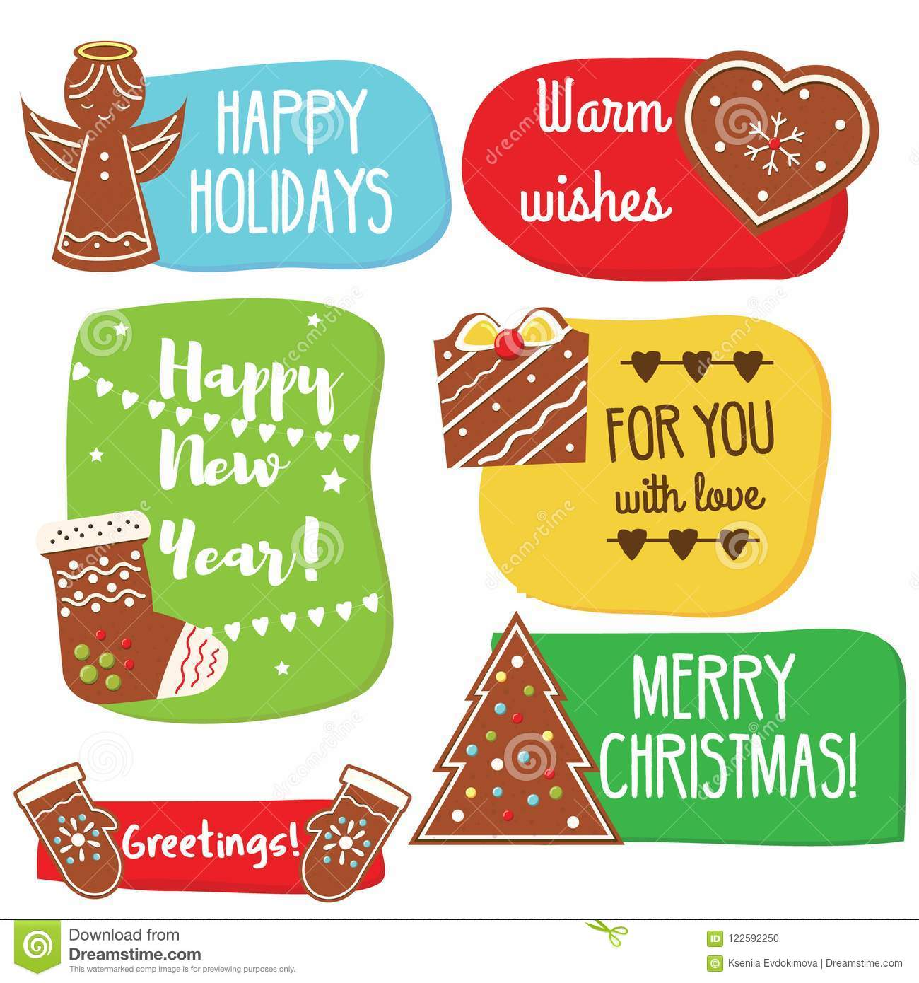 Christmas And New Year Greeting Tags With Gingerbread Cookies