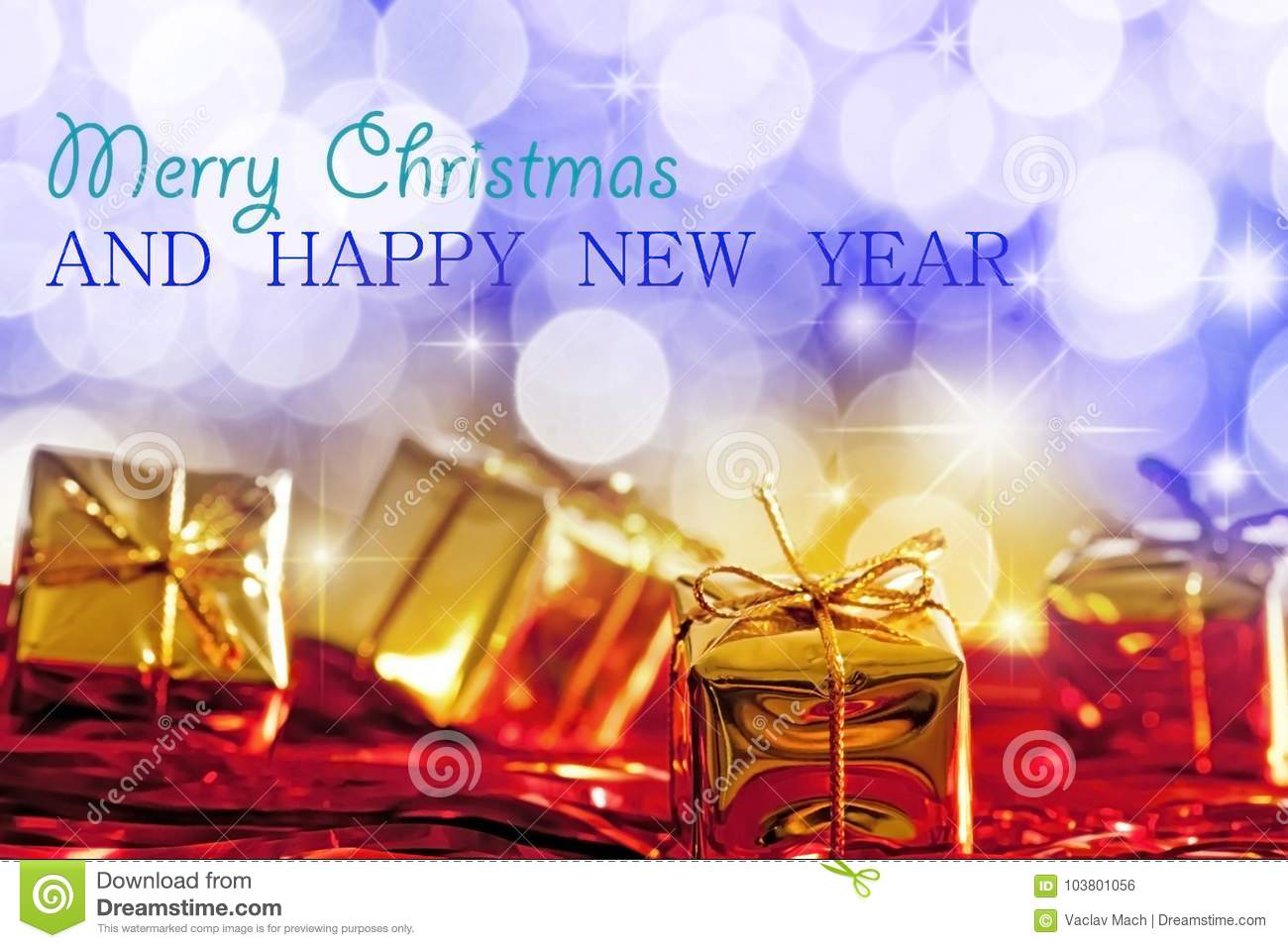 Christmas And New Year Greetings Card Stock Photo Image Of Present