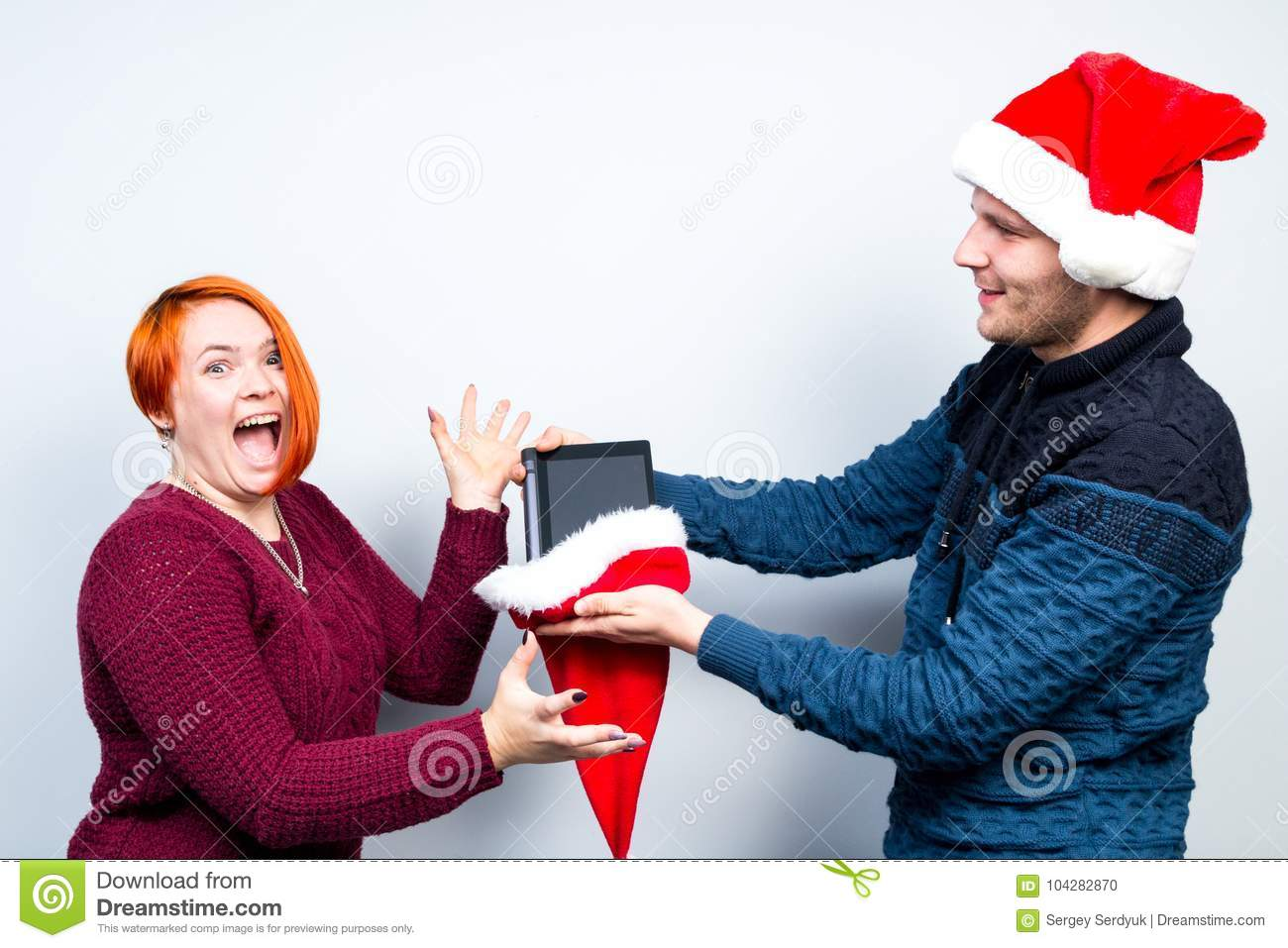 Christmas New Year Happy Couple Celebrate Holiday Give Gifts Emo ...