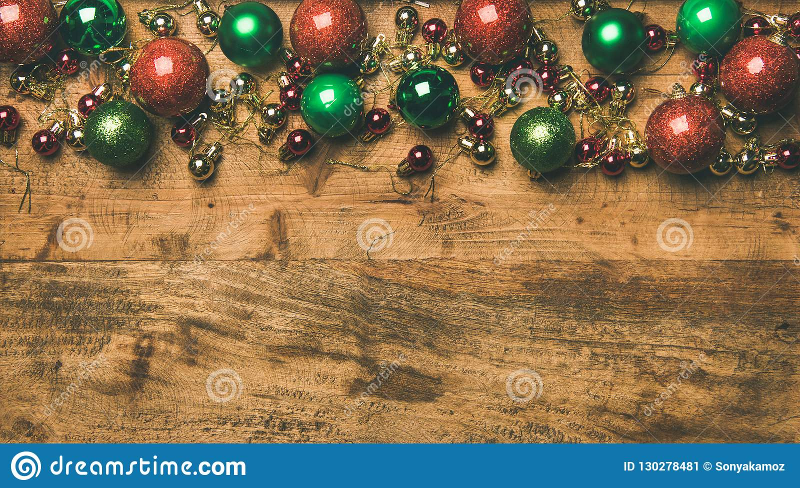 Colorful Christmas Tree Decoration Balls On Wooden