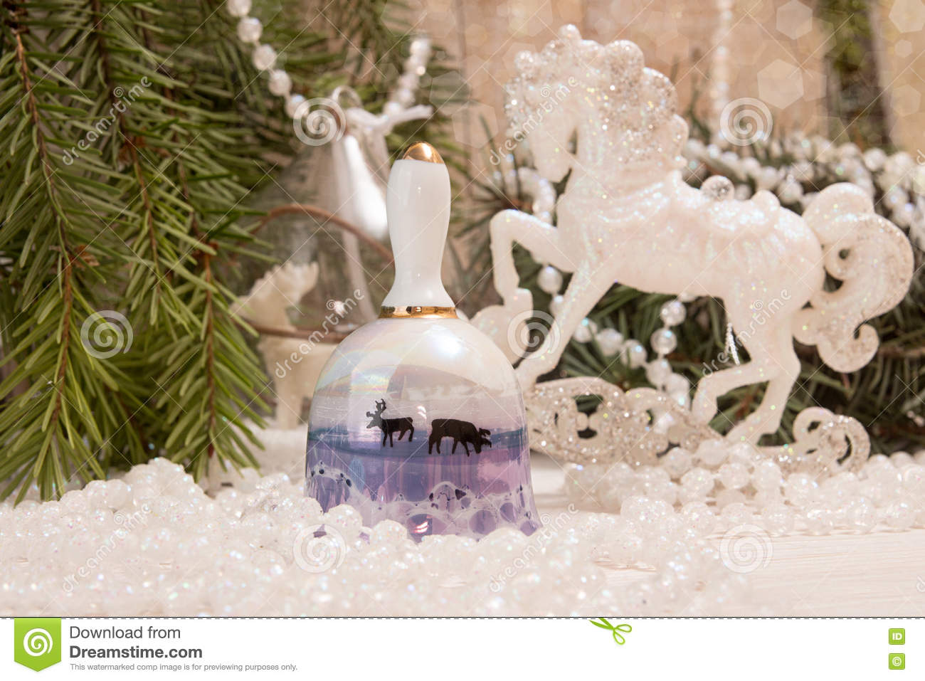 Christmas New Year Holiday Concept Bell White Horse Garland Stock Image Image Of Baubles Celebration 80945379