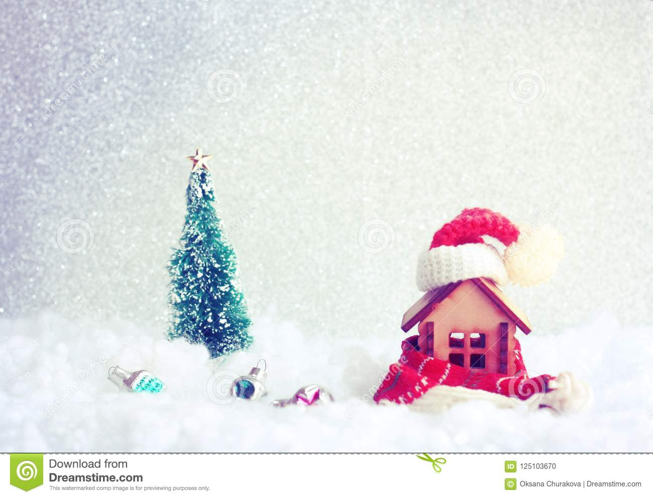 Christmas New Year Holiday Greeting Card Small House With Scar