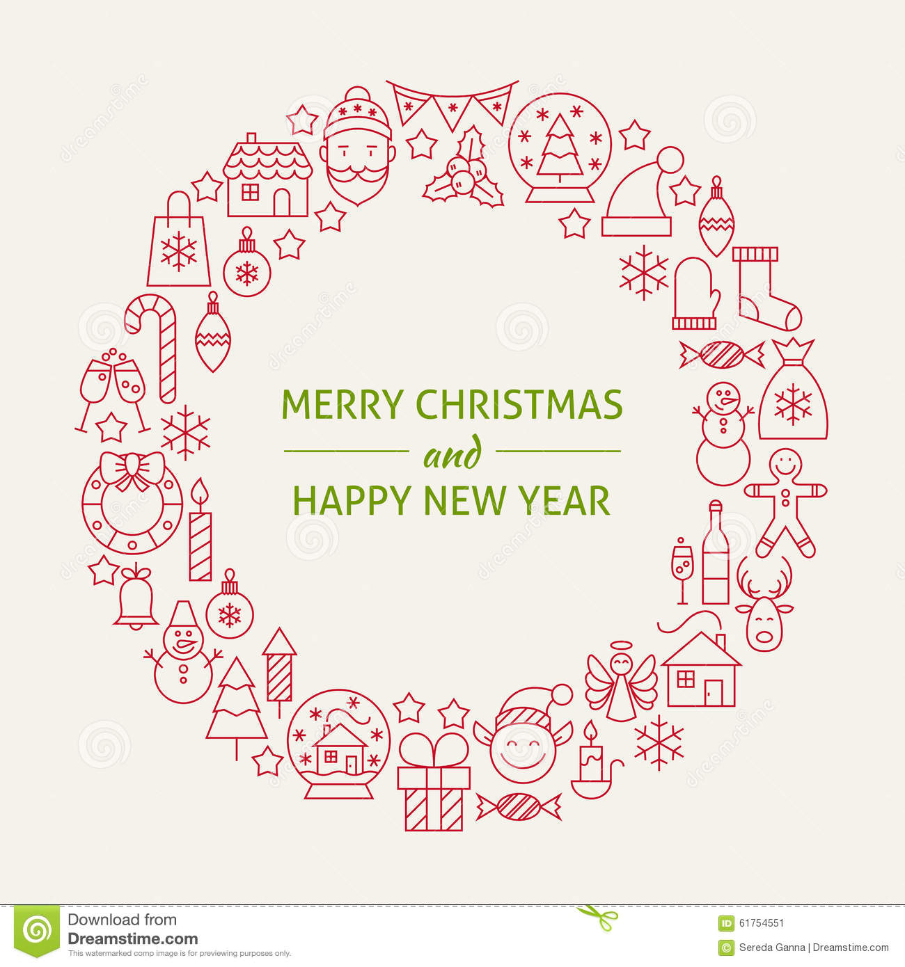 New Year S Line Art : Christmas new year holiday line art icons set circle stock