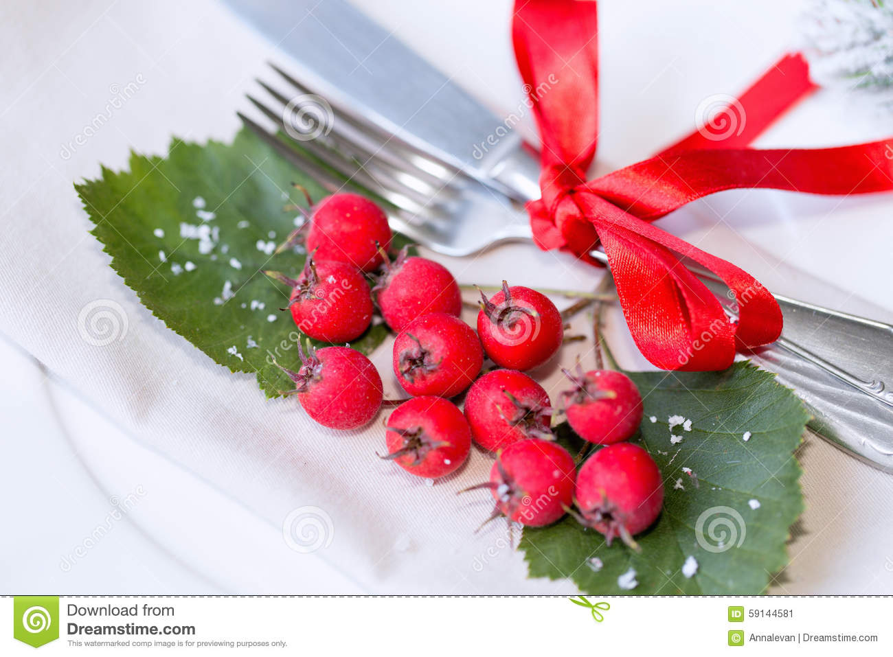 Christmas Table Setting With Holiday Decorations Stock Image ...