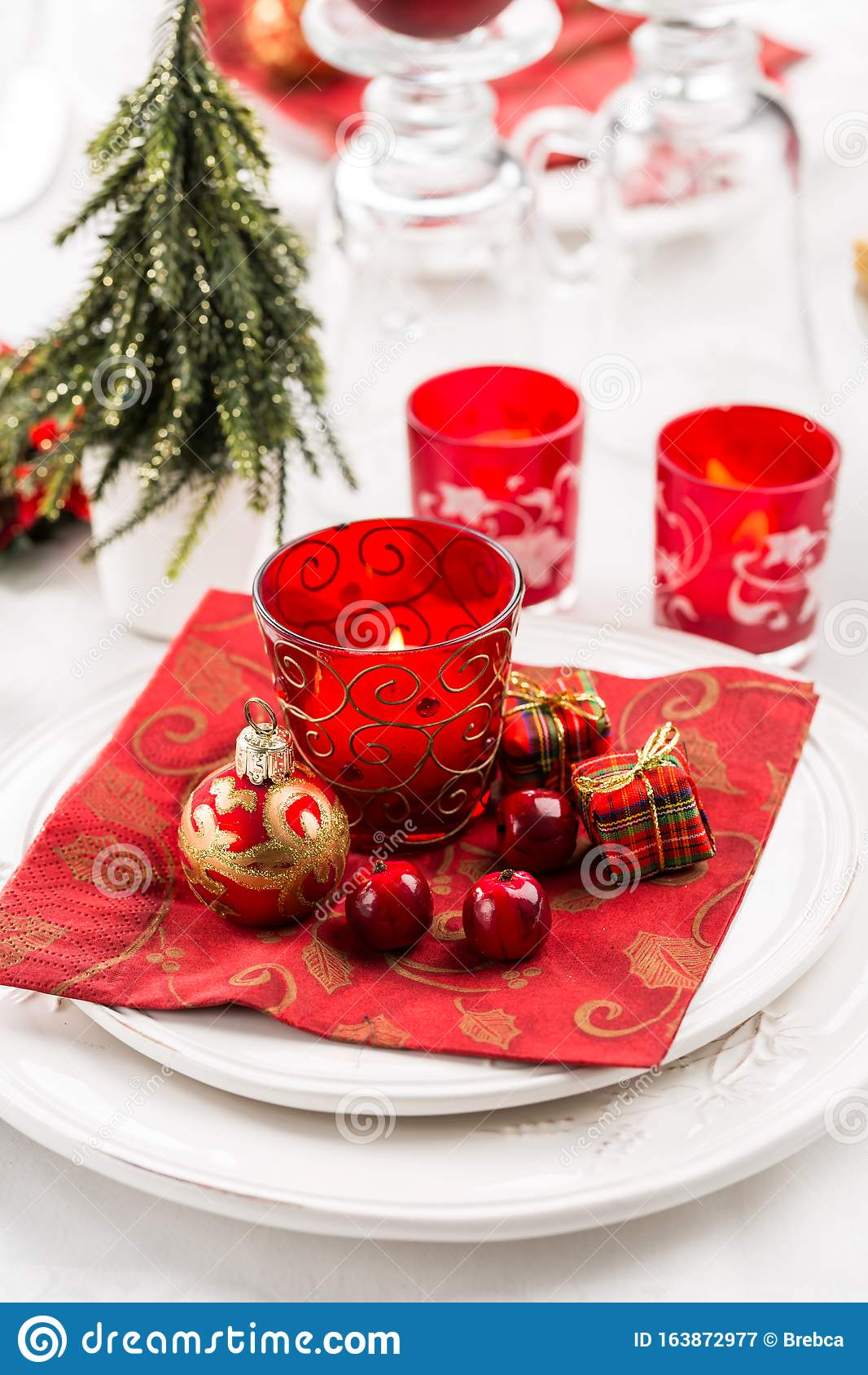 Christmas And New Year Holiday Table Setting. Place ...