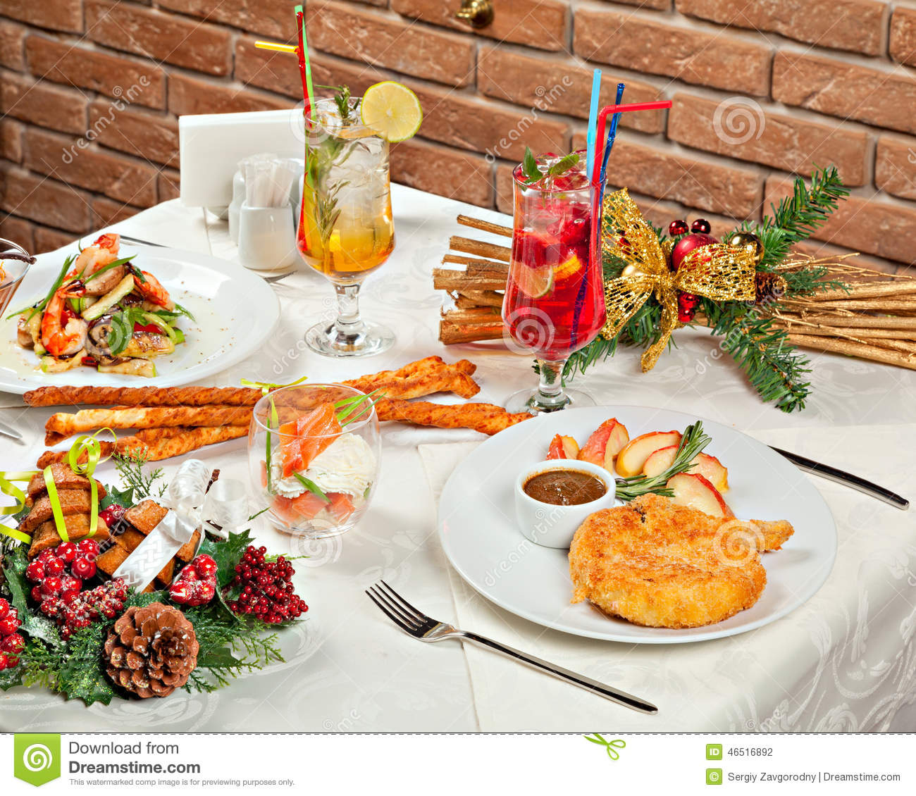 Christmas and new year holiday table setting stock photo - New year dinner table setting ...