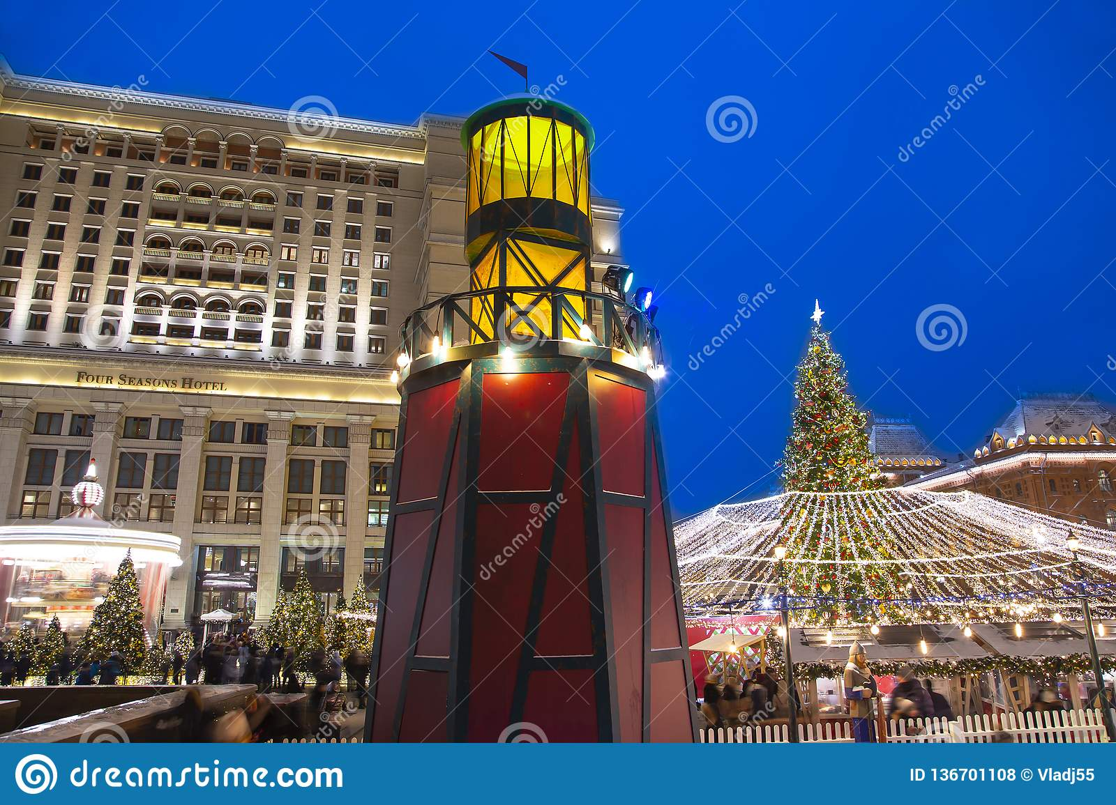 Christmas New Year Holidays Decoration In Moscow At Night ...