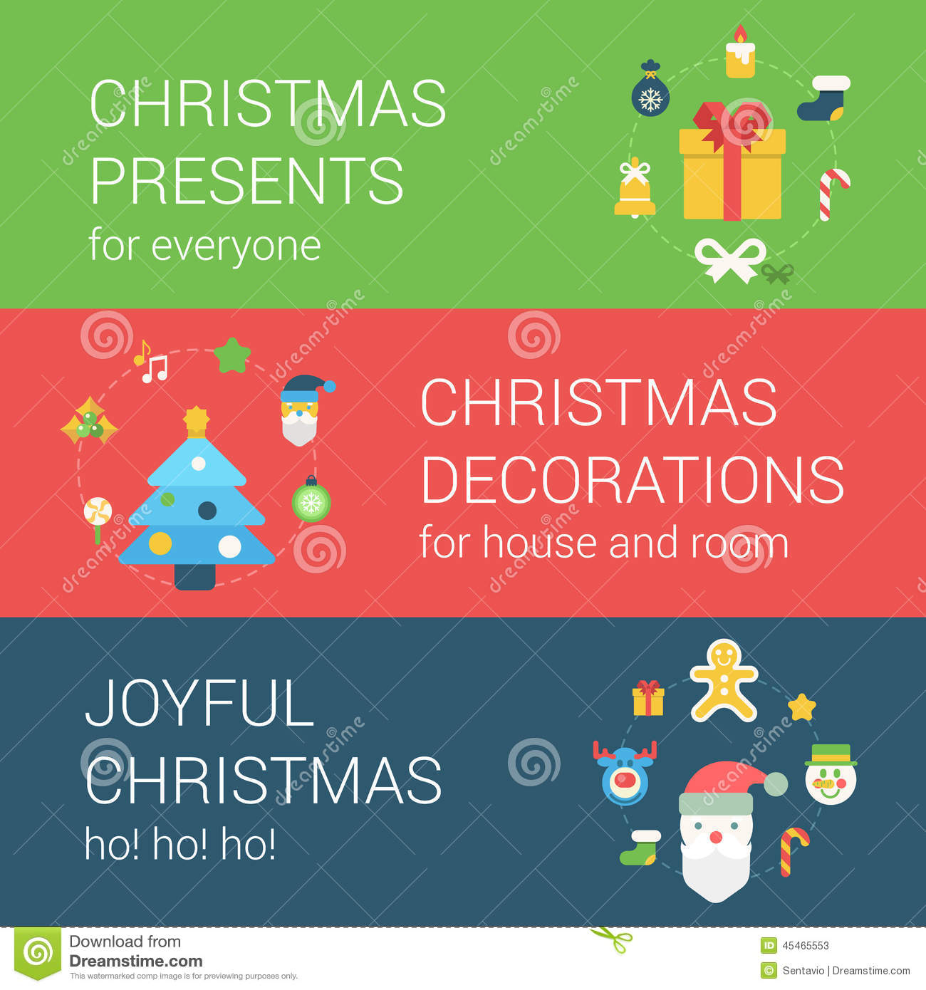 Christmas new year holidays flat style web icon banner for Christmas decoration websites