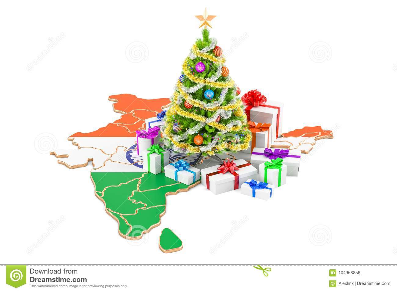Christmas And New Year Holidays In India Concept. 3D Rendering Stock ...