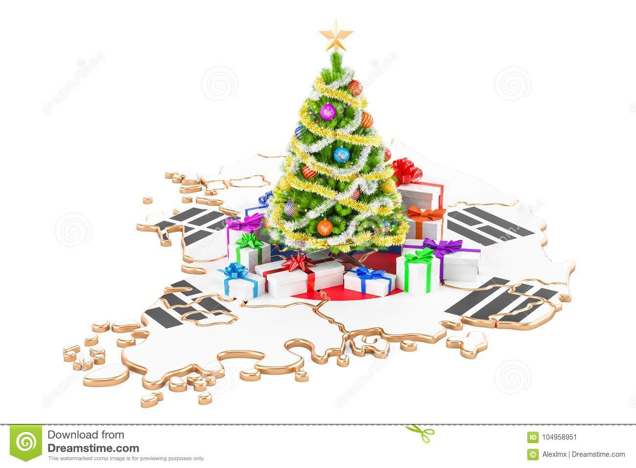 Christmas And New Year Holidays In South Korea Concept. 3D Rende ...