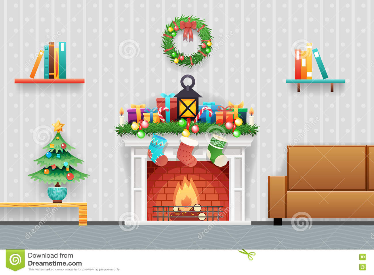 Christmas new year house interior living room furniture for Interior decoration for new year