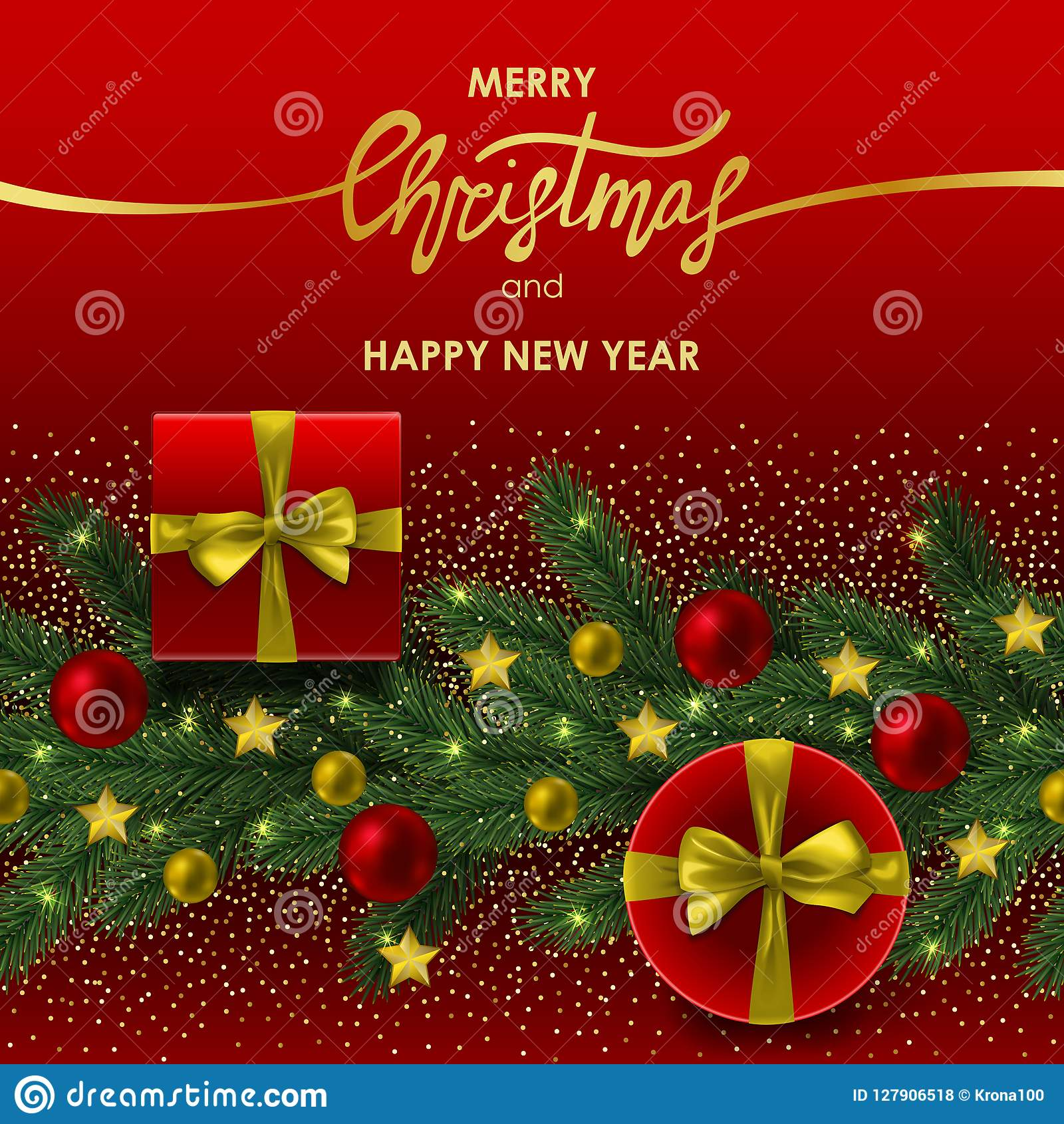 Christmas And New Year Invitation Card With Gold Lettering Stock