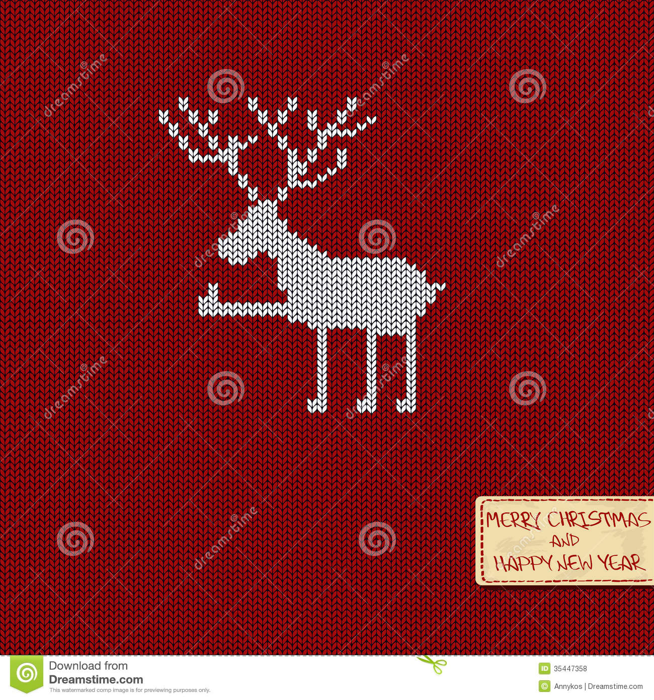 Christmas And New Year Knitted Pattern Card Royalty Free