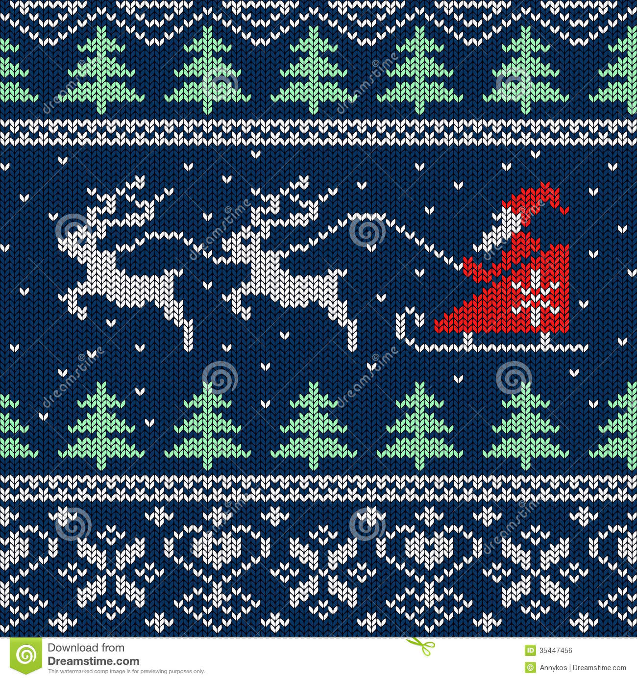 Christmas Knitting Background : Christmas and new year knitted seamless pattern or card