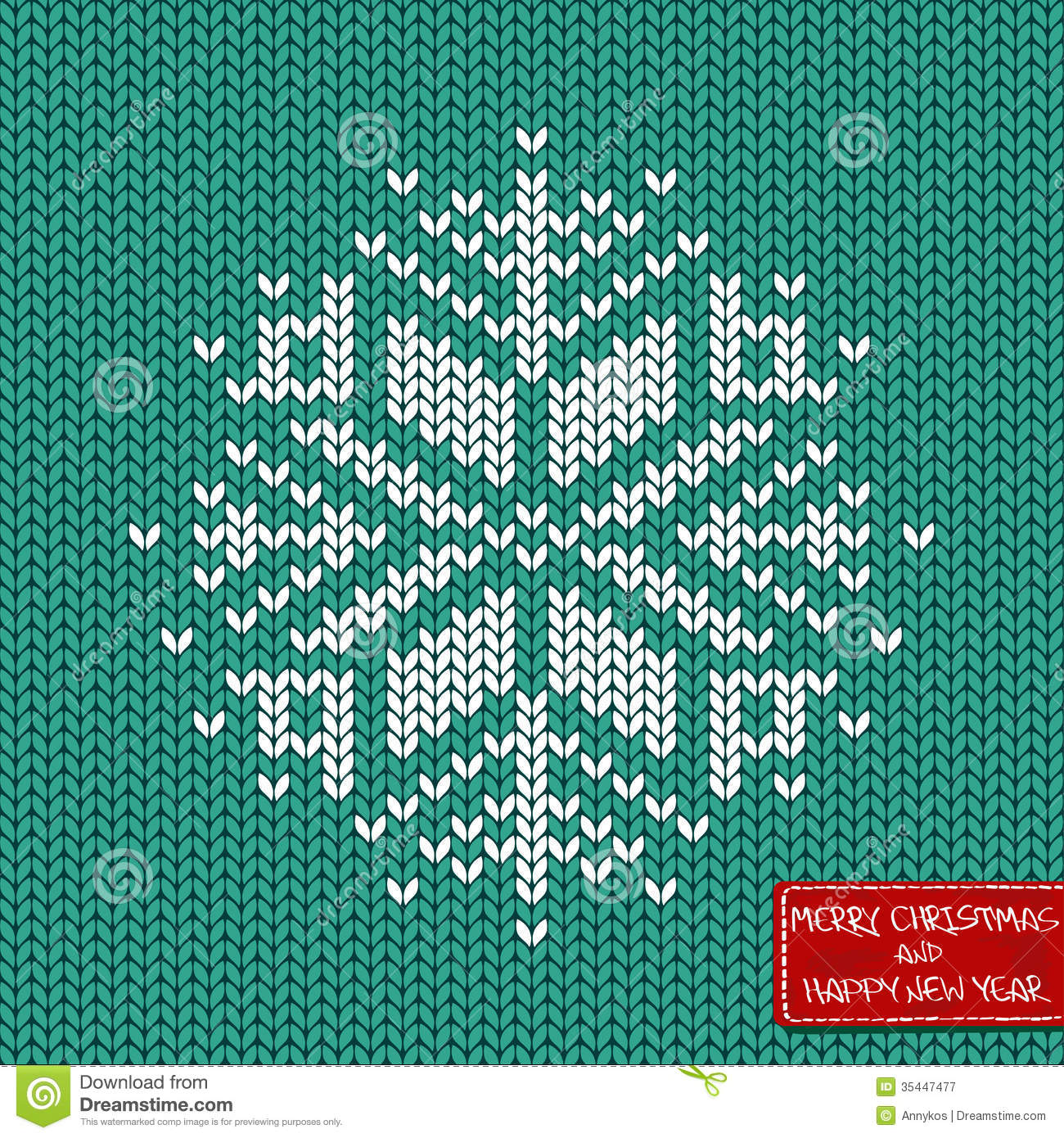 Knitted Snowflake Patterns : Christmas And New Year Knitted Seamless Pattern Or Card Royalty Free Stock Ph...