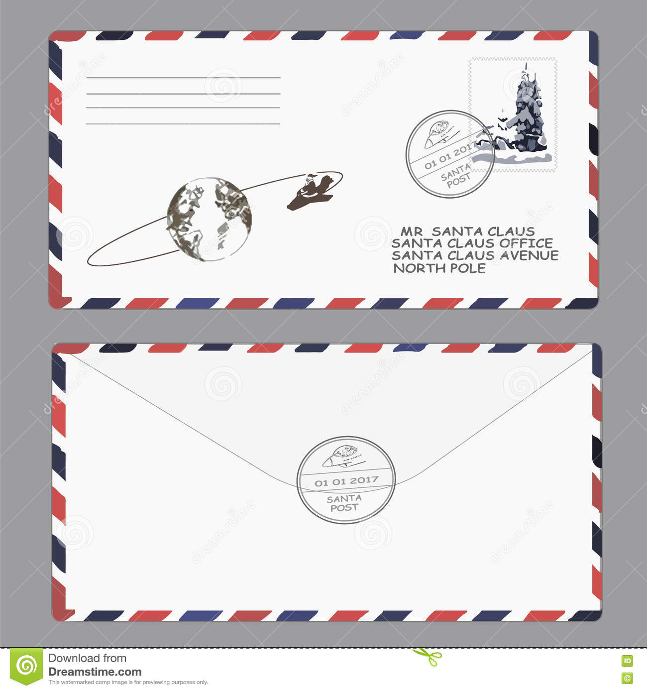 Christmas, new year. letter to Santa Claus. template, envelope, stamp. vector