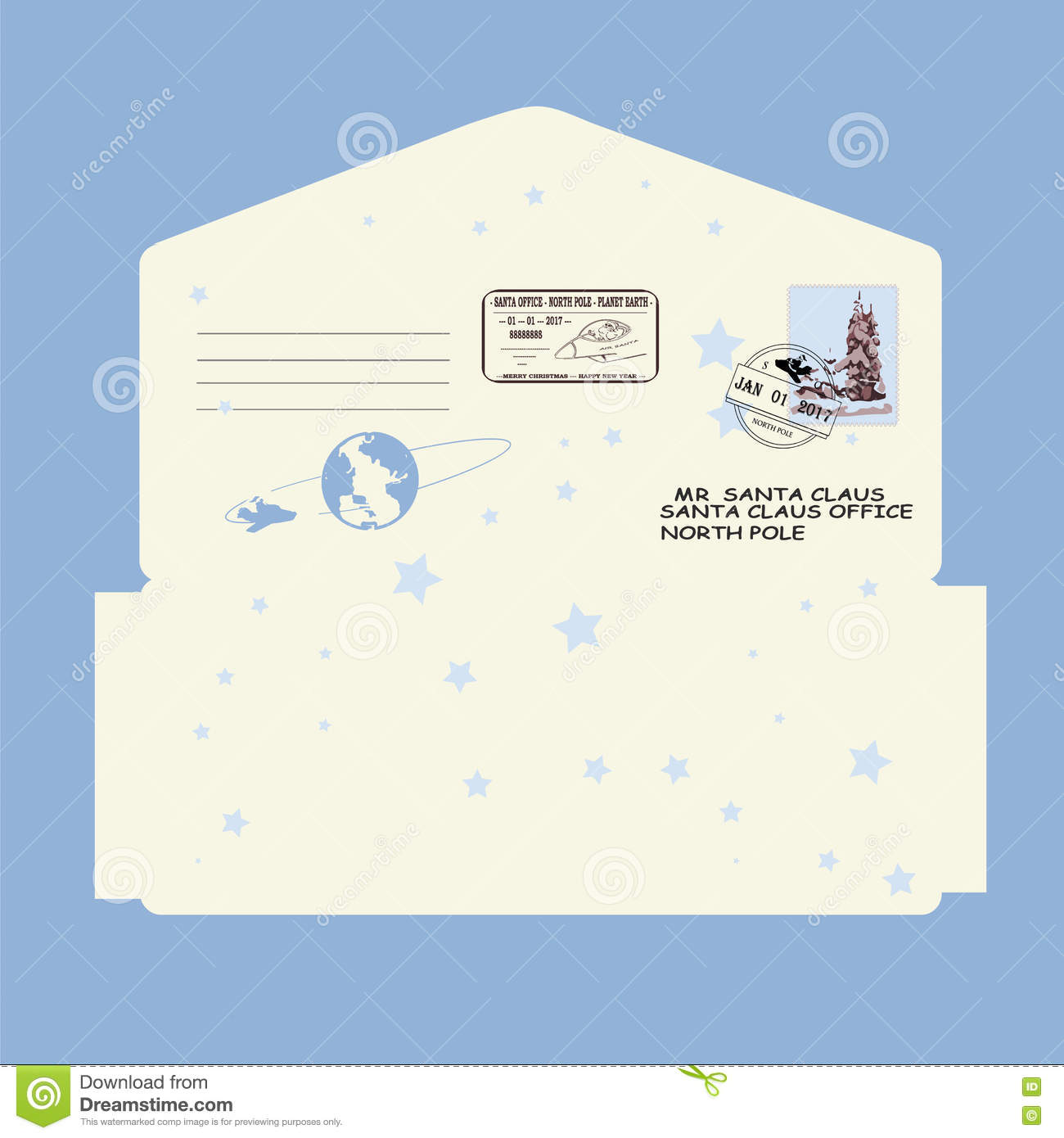 Christmas new year letter to santa claus template envelope christmas new year letter to santa claus template envelope stamp pronofoot35fo Image collections
