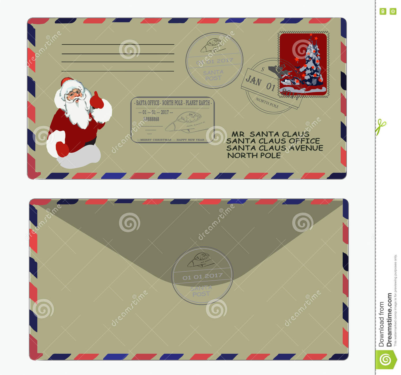 Christmas, New Year. Letter To Santa Claus. Template, Envelope ...