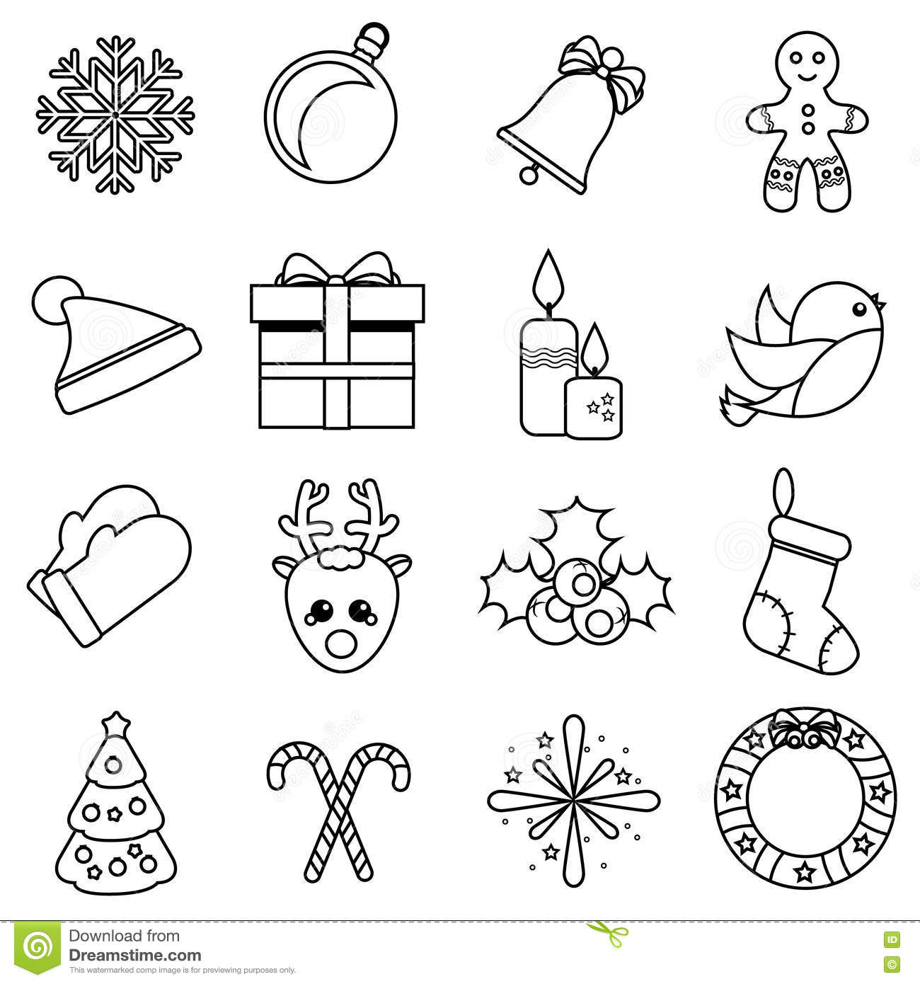 Christmas And New Year Linear Icons Vector Set Of Winter Holidays