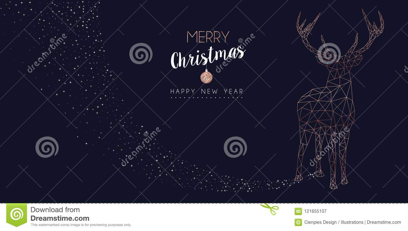 merry christmas and happy new year web banner with luxury reindeer shape in abstract geometric line style copper color holiday illustration eps10 vector