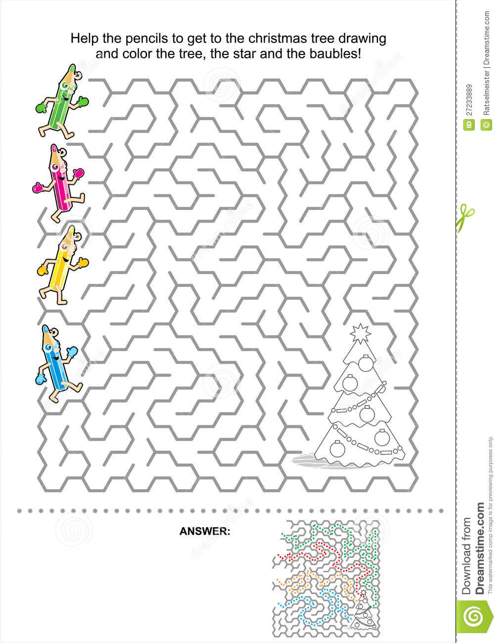 Christmas Or New Year Maze Game For Kids Royalty Free