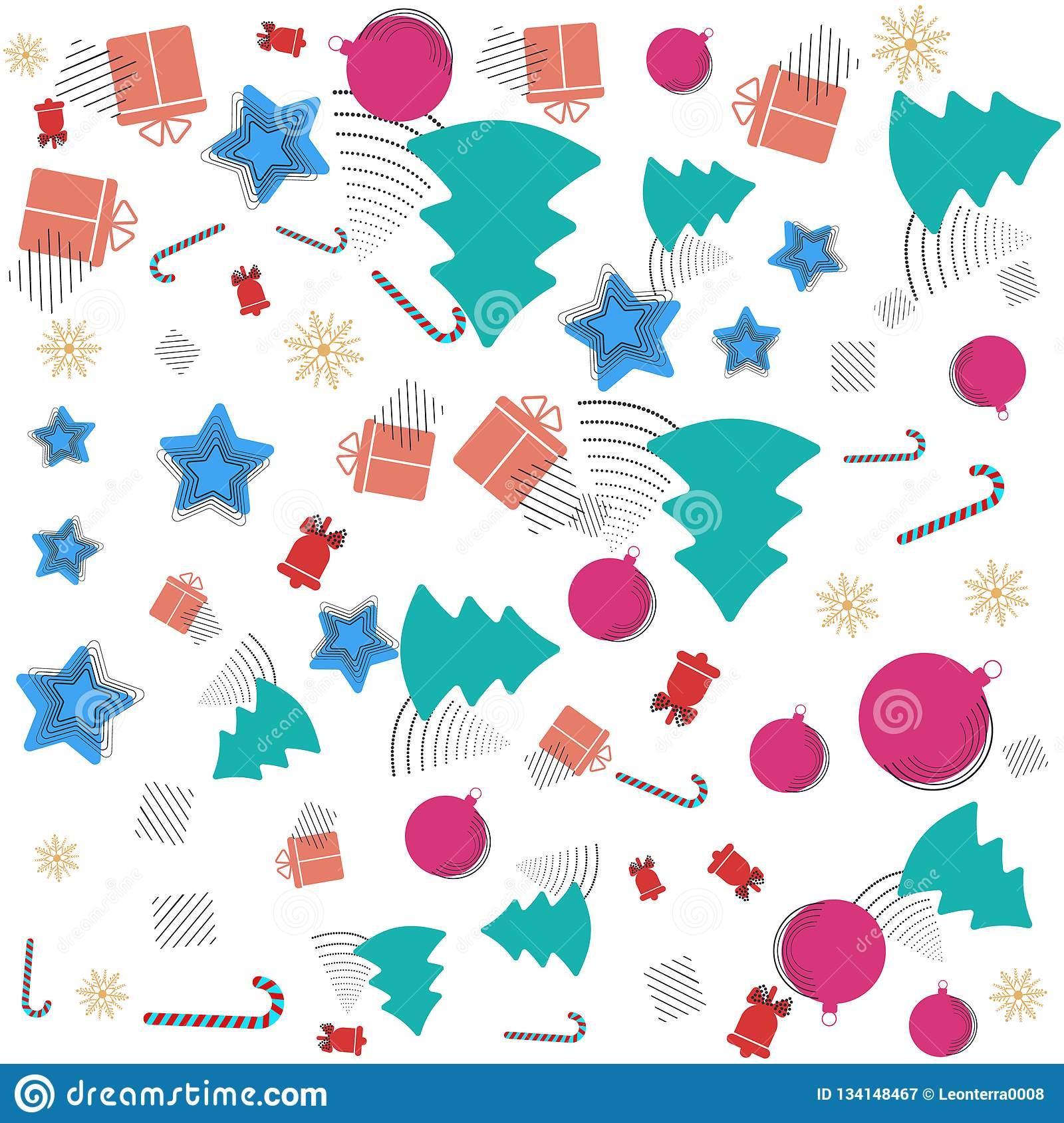 Christmas New Year Memphis Pattern With Bells, Candy Cane