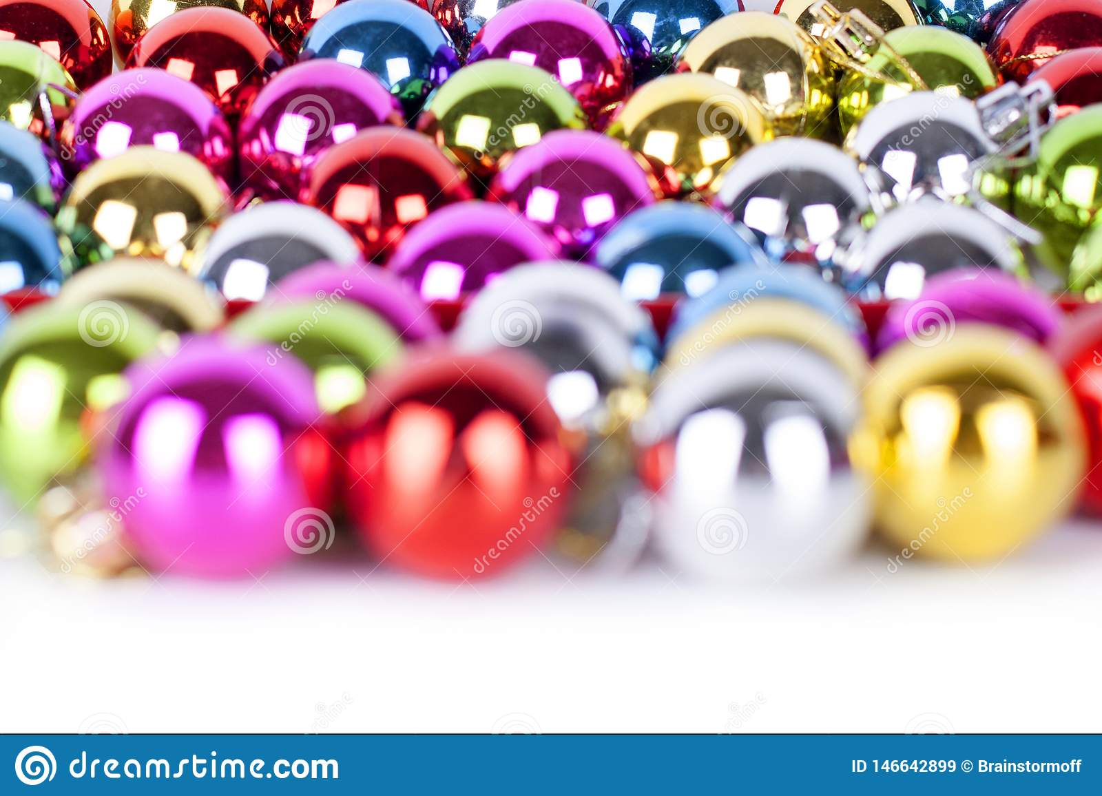 Christmas and New Year pattern, ornament of bright multi-colored glass decorative balls, shining lights and sparkles, bokeh