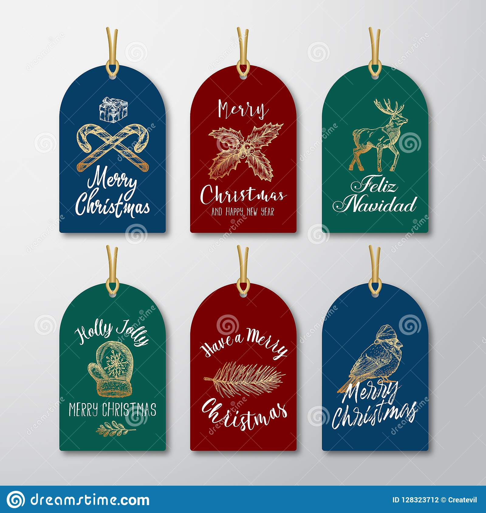 Christmas And New Year Ready To Use Glitter Gift Gift Tags Or Labels