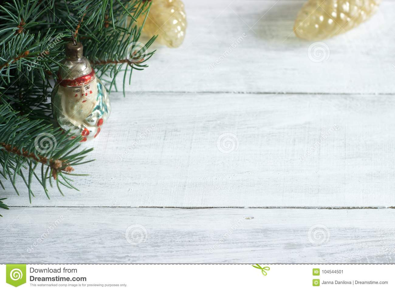 Christmas Or New Year`s Background With Fir Branches And Old ...
