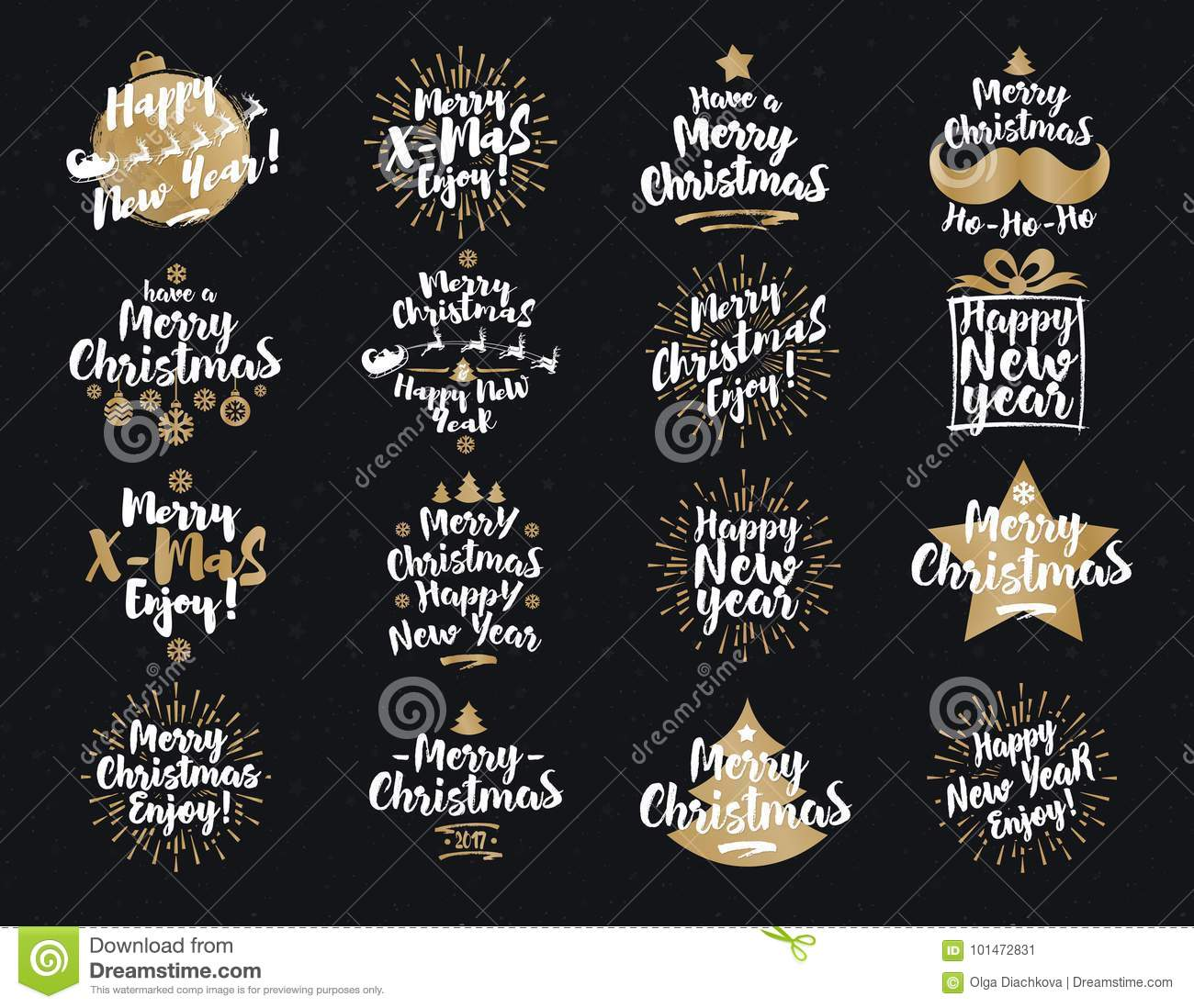 Christmas And New Year`s Signs Set White Gold Color On Black ...