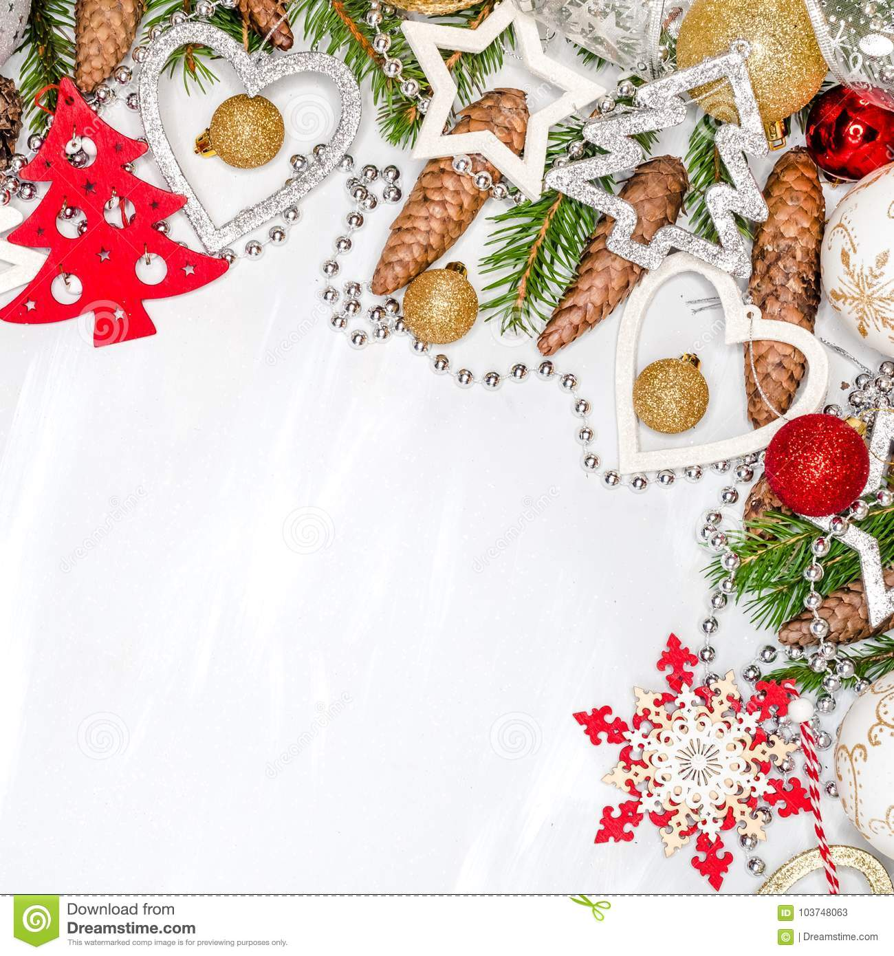 Christmas celebration still life with free space for text, on white background