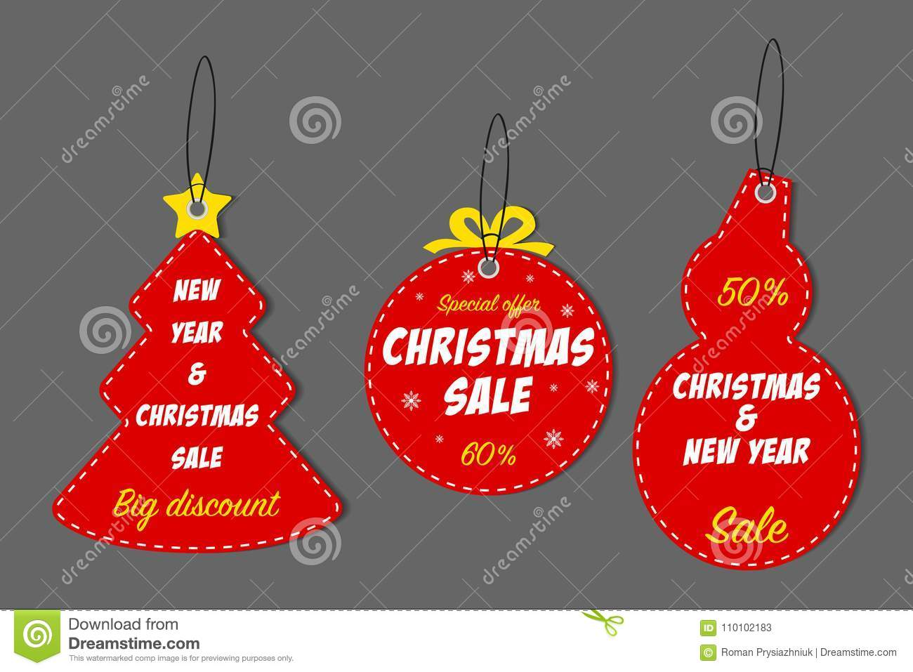 christmas and new year sale tag set template for holiday xmas discount labels vector