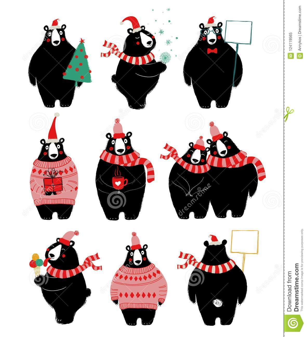 christmas set with cute bear stock vector illustration of
